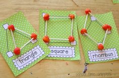 Activities for teaching 2D shapes - playdough and toothpick shapes