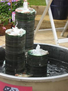 repurposed cd water feature...cool!