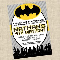 Printable DIY Batman Inspired Invitations, Party Invite on Etsy, $12.00