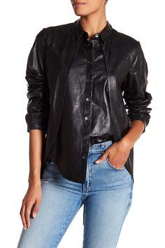 GM STUDIO | Leather Spread Collar Shirt | HauteLook