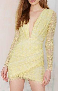 Havana Lace Dress - Yellow