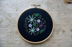 Embroidered Wall Art Wildflowers 4   Flower by harperandfinch