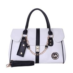 Michael Kors Fashion Logo Chain Large White Satchel