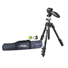Manfrotto MT055CXPRO4 Carbon Fiber 4 Sections Tripod with Horizontal Column, - Bundle With Manfrotto 324RC2 Adapto Technopolymer Body Joystick Head, Tripod Case, Bubble Level, Tripod Hangar