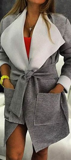 The Camp Out Grey Coat features oversized collar and robe belt. Happily Grey makes casual chic again at CUPSHE.COM !