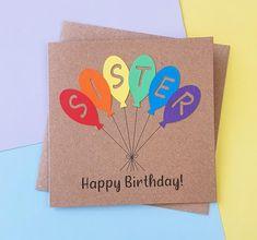 Sister birthday card Handmade Happy Birthday card for Sister | Etsy