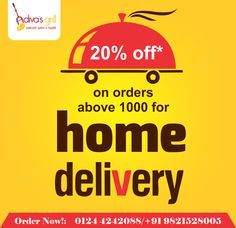 Enjoy a yummy weekend as you are getting exciting discounts at Adiva's Grill. Get your food delivered at your doorstep. Order NOW. P.S- Orders above Rs 1000 will get an exciting discount of 20 percent .