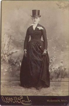 Lady in Top Hat and side-saddle riding habit. latter half of the 19th century.