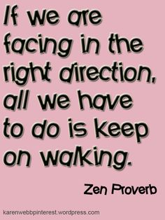 If we are facing in the right direction, all we have to do is keep on walking. Zen Proverb #Inspirational #Quote