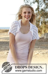 "Gwendolyn - Crochet DROPS bolero with lace pattern in ""Cotton Viscose"". Size: S - XXXL - Free pattern by DROPS Design"