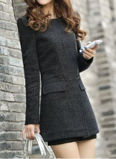 Stylish Jewel Neck Long Sleeve Solid Color Zippered #Coat For Women