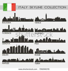 Most Famous Republic of Italy Cities Skyline City Silhouette Design Collection