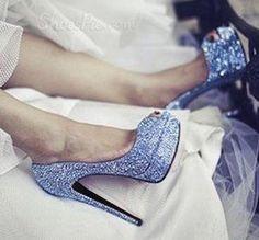 Fashionable Blue Denim Platform High Heel Shoes