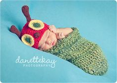 Newborn Very Hungry Caterpillar hat & cocoon set  by danettekay, $49.99