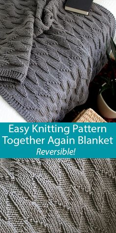 Knitting Pattern for Easy Together Again Reversible Blanket in 6 Sizes Knitting Pattern for Easy Together Again Reversible Blanket in 6 Sizes – A repeat creates Easy Knit Blanket, Knitted Baby Blankets, Knitted Throws, Knitting Blankets, Small Blankets, Baby Knitting Patterns, Knitted Throw Patterns, Knitted Blankets Pattern Free, Easy Knitting