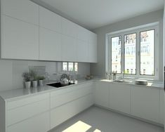 Modelo Line E Blanco  | Encimera Granito #casasmodernasestrechas #cocinasmodernasblancas
