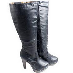bad1eb40af946 Never 2 Hot (N2H) Ladies Platform Stud Knee High Boots Waterproof Size 6-