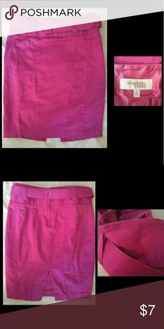 Fuchsia Belted Charlotte Russe Size 0 Pencil Skirt Charlotte Russe Pink Pencil Skirt with separate belt.  Size 0 Beautiful pink/magenta color Small slit in back  Tight fitting and contouring Minor flaw- small ink stain near belt. Shown in pic.  Not noticeable when wearing Pre Loved but great condition. Charlotte Russe Skirts Pencil