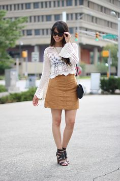 d57fdc6a11d8e3 my trendy heart : The Suede Skirt Boho Chic, Suede Skirt, High Waisted Skirt