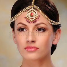 ACR/1/3314 Matha Patti in dull gold finish studded with kundan, ruby, and pearls	 $118  £70