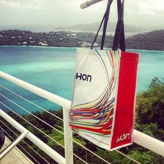 We never leave home without our HON bag! One of our Product Business Managers brings his HON bag with him to St. Thomas, overlooking Magens Bay!