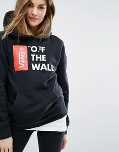 Vans Oversized Pullover Off The Wall Logo Hoodie In Black €66.67