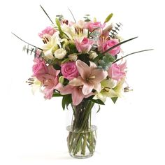Pink and white roses and lilies