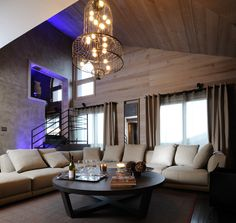 The Living Room of The Ruby Suite at Grandes Alpes Private Hotel, Courchevel 1850.