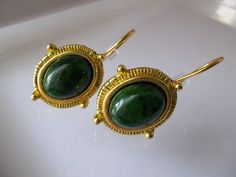 Etruscan Revival Style Green Stone & Gold Plated Pierced Earrings/ Museum Reproduction Look Jewelry/ CLASSICAL TRADITIONAL JEWELRY