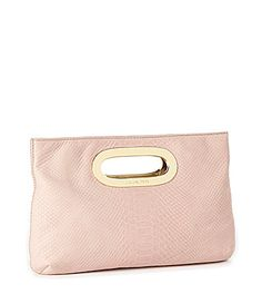 MICHAEL Michael Kors Snake-Embossed Berkley Clutch in Blush