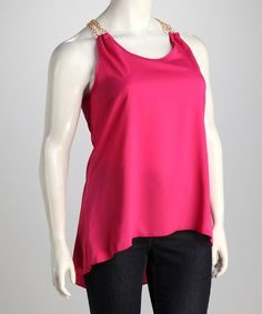 Fuchsia Chain-Strap Racerback Tank ~the back of this tank is GORGEOUS! It's a shame I'll have to wear a sweater!