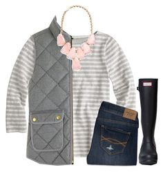 """""""Q is for... Quilted"""" by meljordrum ❤ liked on Polyvore featuring Hunter, J.Crew, Kendra Scott and Abercrombie & Fitch"""