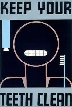 1938 WPA silkscreen poster promoting oral hygiene. Artist unknown. Work Projects Administration Poster Collection.