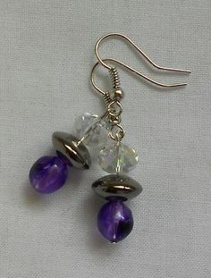 Handmade Earrings Clear Faceted Crystal Beads Hematite Spacer and Purple Beads 2013 Sold