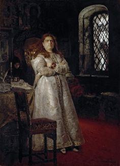 'Prinses Sofia Alexyevna een jaar na haar opsluiting in het Nieuwe Maagdenklooster tijdens de executie van de Streltsys en het martelen van al haar bedienden in 1698', 1879 / Ilja Repin (1844-1930) / Tretjakovgalerij, Moskou, Rusland.