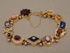 14K Vintage Victorian 11 Slide Bracelet Stickpins