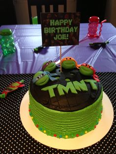 My first try at creating a cake for my sons birthday! Lots of fun:) Teenage Mutant Ninja Turtle Cake.