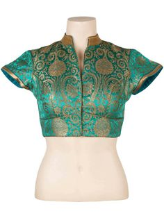 Blue banaras blouse.. get it done at http://mytailor.in/