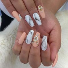 Nail Art Ideas For Coffin Nails - Peach and Marbles - Easy, Step-By-Step Design For Coffin Nails, Including Grey, Matte Black, And Great Bling For Instagram Ideas. Includes Everything From Kylie Jenner Ideas To Nailart For Short Nails, Long Nails, And Beautiful Shape And Colour Like Pink. Polish For Jade, Glitter, And Even Negative Space - https://thegoddess.com/nail-ideas-coffin-nails