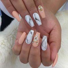 Design de unhas de mármore 25 com água e esmalte 2 Marble Nail Designs, Marble Nail Art, Acrylic Nail Designs, Nail Art Designs, Nail Polish Designs, Design Art, Design Ideas, Grey Acrylic Nails, Long Nails
