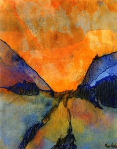 Mountain Landscape, Valley with Sunset  Emil Nolde - Date unknown