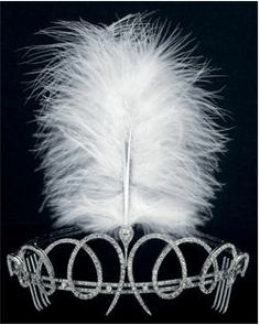 A diamond aigrette tiara, circa 1902, by Cartier. Designed as a series of eight diamond loops, supporting a pear-shaped diamond, from which an aigrette plumes. This tiara was spotted, minus the feather, at the Coronation of George VI in 1937.