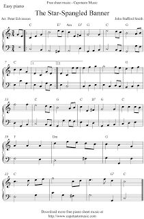 Free Sheet Music Scores: Free easy piano sheet music score, The Star-Spangled Banner