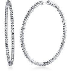 BERRICLE Sterling Silver Cubic Zirconia CZ Fashion Inside-Out Hoop... ($92) ❤ liked on Polyvore featuring jewelry, earrings, jewelry - earrings, clear, inside-out hoop earrings, women's accessories, cubic zirconia earrings, cz earrings, sterling silver jewellery and clear earrings