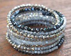 Nero cristallo braccialetto di perline bracciale, braccialetto dell'involucro del Boho, Wrap