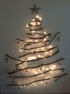 Homemade twig Christmas tree