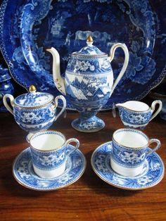 Wedgwood Flow Blue Transferware, Demitasse Porcelain Tea Set.
