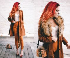 Hallows eve - Lion lady - LE HAPPY : LE HAPPY. White lace bodice+camel pants+brick red ankle strap heels+camel leather coat+camel printed shoulder bag+black choker+gold necklace. Fall Outfit 2016