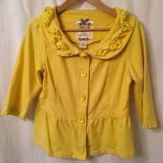 Yellow Anthropologie Jacket This cheerful cotton jacket is extremely comfortable and perfect for spring! Pair with jeans and flats or a cute navy sundress. Great quality. Anthropologie Jackets & Coats
