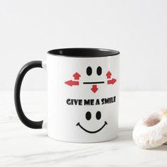 Give me a smile coffee mug - home decor design art diy cyo custom